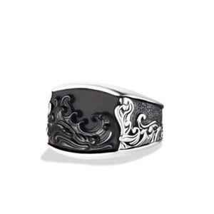 David Yurman   Waves Ring w/ Black Onyx & Silver